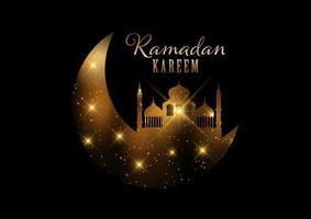 sfondo di ramadan kareem con luci e stelle dorate vettore