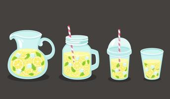 acqua detox al limone, cubetti di ghiaccio, menta. uno stile di vita sano. bevanda disintossicante. illustrazione vettoriale. vettore