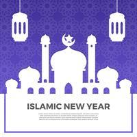 Saluti islamici minimalisti del nuovo anno con l'illustrazione di vettore del fondo del modello di pendenza