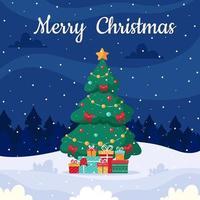 buon Natale. paesaggio invernale con albero di natale e regali. illustrazione vettoriale. vettore