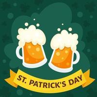 biglietto di auguri del giorno di San Patrizio. bicchieri di birra. illustrazione vettoriale