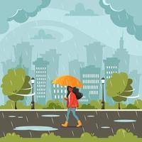 donna nera che cammina sotto un ombrello durante la pioggia. caduta di pioggia. attività all'aria aperta autunnali. vettore
