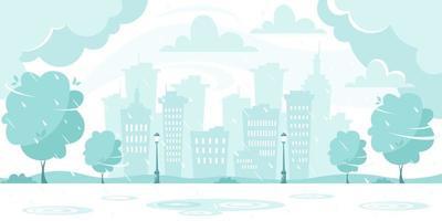 pioggia autunnale sullo sfondo della città. giornata piovosa e ventosa. illustrazione vettoriale in stile piatto.