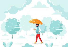 uomo che cammina sotto un ombrello durante la pioggia. caduta di pioggia. attività all'aria aperta autunnali. vettore