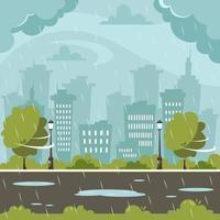 pioggia sullo sfondo della città. giornata piovosa e ventosa. illustrazione vettoriale in stile piatto.