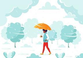 uomo nero che cammina sotto un ombrello durante la pioggia. caduta di pioggia. attività all'aria aperta autunnali. vettore