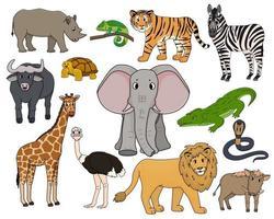 set di vettore cartone animato isolato contorno animali della savana. tigre, leone, rinoceronte, facocero comune, bufalo africano, tartaruga, camaleonte, zebra, struzzo, elefante, giraffa, coccodrillo, cobra per bambini