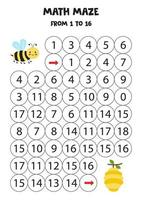 porta una graziosa ape kawaii all'alveare contando fino a 16. vettore