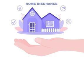 concetto di assicurazione sulla proprietà immobiliare, casa da varie situazioni come disastri naturali, incendi e altri. illustrazione vettoriale