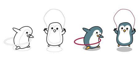 adorabili pinguini stanno esercitando la pagina da colorare dei cartoni animati per i bambini vettore