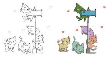 adorabili gatti e pilastro pagina da colorare dei cartoni animati per i bambini vettore