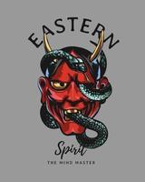 slogan tipografico con maschera diabolica rossa giapponese e illustrazione di serpente vettore