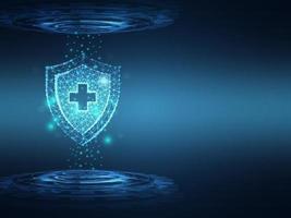 sfondo di tecnologia di protezione medica sanitaria vettore