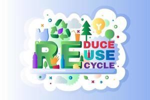 riciclare i rifiuti logo icona contorno vettoriale