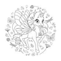 simpatico unicorno fata con ali circondato da fiori e farfalle. illustrazione vettoriale in bianco e nero per la pagina da colorare.