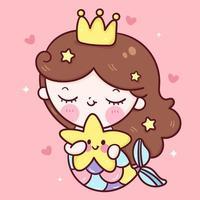 sirena principessa cartone animato abbraccio stella pesce kawaii serie animale fiaba bellissimo personaggio girly ragazza vettore carino disegno a mano illustrazione per bambini opere d'arte di moda libri per bambini biglietti di auguri