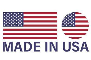 bandiera americana e etichetta made in usa, emblema del prodotto, design del logo vettore
