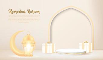 Sfondo 3d ramadan kareem con lampada dorata e podio. vettore