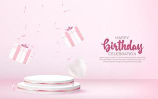 Sfondo di buon compleanno 3D con confezione regalo, coriandoli e podio. vettore
