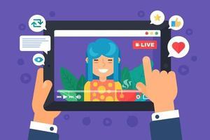 illustrazione di concetto di streamer web femminile asiatico vettore