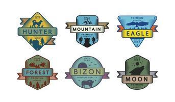 set di modelli di logo di vettore di fauna selvatica della foresta