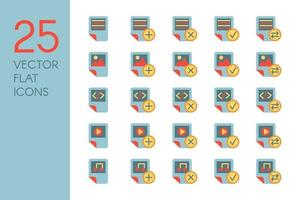 documenti e file set di icone vettoriali piatte