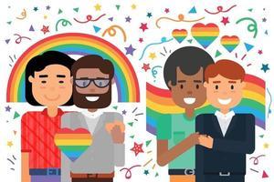 abbraccio felice di coppie omosessuali maschili, protezione lgbt vettore