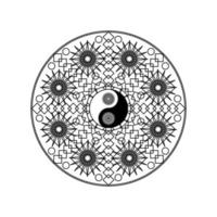 simbolo di yin yang nel motivo geometrico orientale vettore