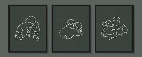 impostare poster di amanti lineari. silhouette lineare continua di persone. contorno disegnato a mano di avatar. logo lineare in stile minimal per salone di bellezza, truccatore, stilista vettore