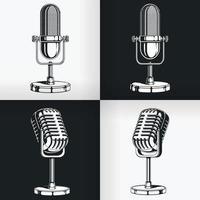 silhouette vecchio vintage radio microfono retrò podcast stencil set di disegno vettore