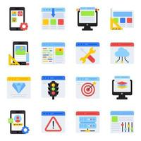 pacchetto di icone piane di gestione web vettore