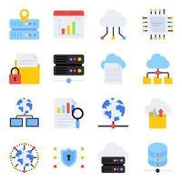 pacchetto di icone piatte di big data vettore