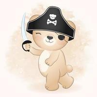 simpatico orso pirata illustrazione ad acquerello vettore