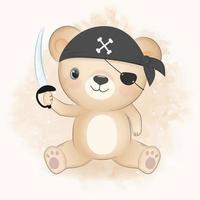 illustrazione dell'acquerello disegnato a mano orso pirata vettore