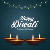 felice concetto di design creativo di diwali con diya creativo vettore