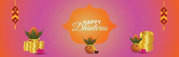 banner o intestazione di invito dhanteras felice festival indiano con kalash creativo vettore