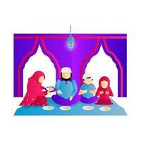 illustrazione la famiglia musulmana mangia insieme il vettore di progettazione
