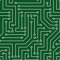 modello senza saldatura con chip. fili grigi, sfondo verde. immagine vettoriale. adatto per siti tecnici e stampa. vettore