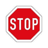 variante europea del segnale stradale di stop. ottagono rosso con bordo bianco e fermare il testo. vettore