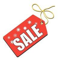 etichetta vettoriale per capodanno e vendite natalizie. testo bianco e fiocchi di neve su fondo rosso.