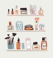 insieme di doodle di cura del viso. contorno accessori di bellezza per la cura di tutti i giorni. cotton fioc, lima per unghie, crema e pettine vettore
