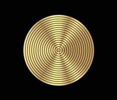 elemento cerchio concentrico. anello color oro lussuoso. illustrazione vettoriale astratta per onda sonora, grafica dorata, decorazione moderna per siti Web, poster, banner, modello eps10 vettoriale