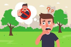 pensando al divieto o al permesso. blocchi psicologici interni di una persona. illustrazione vettoriale piatta.
