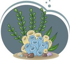 composizione vettoriale di coralli blu e gialli, fogliame marino, alghe e pietre su uno sfondo blu scuro