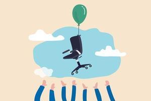 candidato che afferra la sedia vacante, risorse umane, concetto di reclutamento delle risorse umane, mano dei candidati che cerca di afferrare la sedia da ufficio che vola in aria con un palloncino. vettore