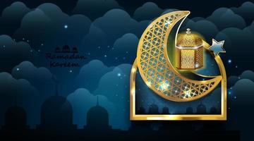 design ramadan kareem con lampada araba dorata. illustrazione vettoriale. vettore