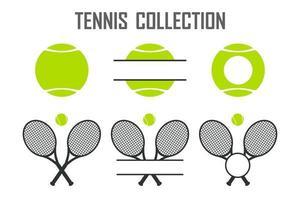 raccolta vettoriale di palline da tennis verdi e racchette da tennis