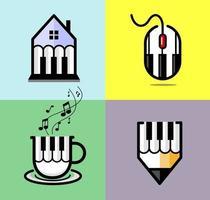 collezione di logo di musica astratta con set di illustrazione dei simboli di tasti di pianoforte vettore