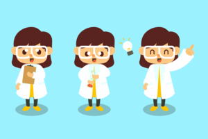 vettore di scienziato femminile