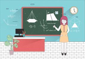 Vettore dell'illustrazione dell'insegnante per la matematica